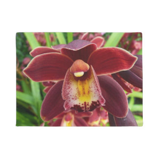 Maroon Orchids I Beautiful Red Floral Doormat