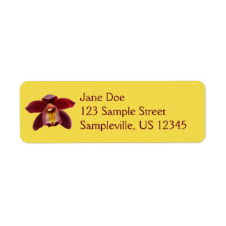 Maroon Orchids I Beautiful Red Floral Return Address Label