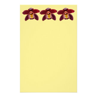 Maroon Orchids I Beautiful Red Floral Stationery