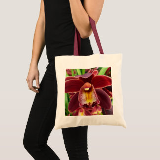 Maroon Orchids I Beautiful Red Floral Tote Bag