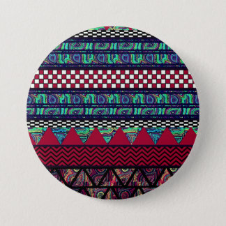 Maroon Peacock Boho Tribal Stripes Pattern 3 Inch Round Button