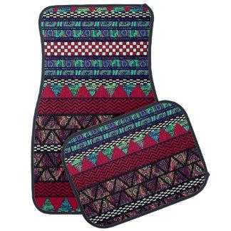 Maroon Peacock Boho Tribal Stripes Pattern Car Mat