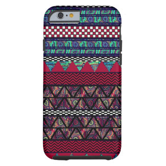 Maroon Peacock Boho Tribal Stripes Pattern Tough iPhone 6 Case
