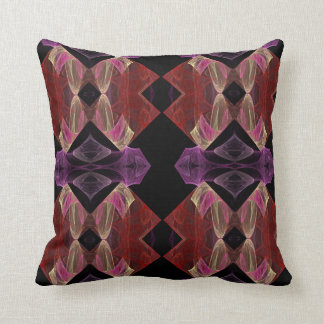 Maroon, Pink and Lavender Abstract Fractal Pillow