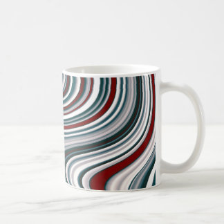 Maroon Red and Teal Blue Abstract Curvy Shapes Coffee Mug
