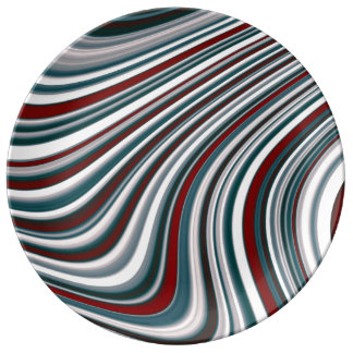 Maroon Red and Teal Blue Abstract Curvy Shapes Plate