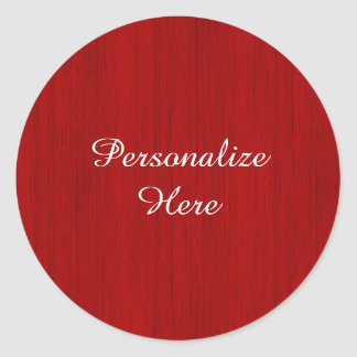 Maroon Red Bamboo Wood Grain Look Classic Round Sticker