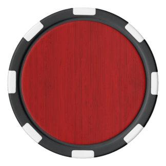 Maroon Red Bamboo Wood Grain Look Poker Chips Set