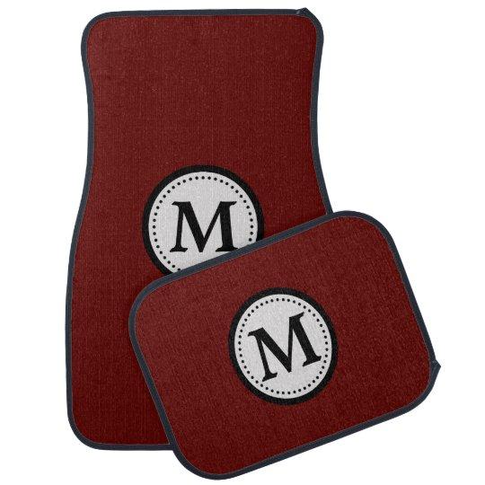Maroon Red Black Monogram Car Mat
