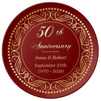 Maroon Red Decorative Border Golden Anniversary Plate