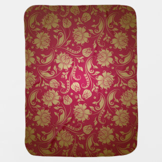 Maroon Red Gold Damasks Pattern Receiving Blanket