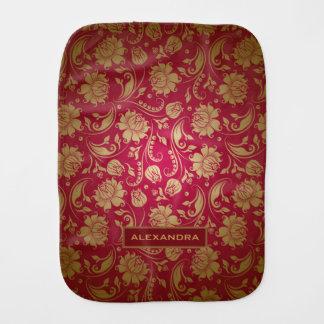 Maroon Red Gold Damasks Pattern Burp Cloth