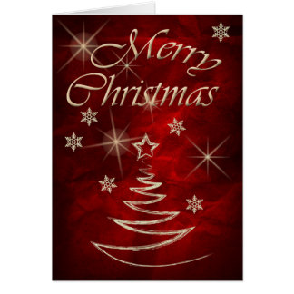Maroon Red Gold Tree Christmas Greeting Card