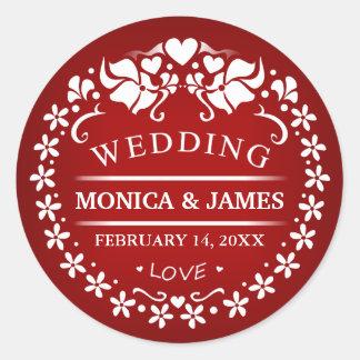 Maroon Red & White Deco Wedding Names Round Label Round Sticker