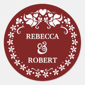 Maroon Red & White Deco Wedding Names Round Round Sticker