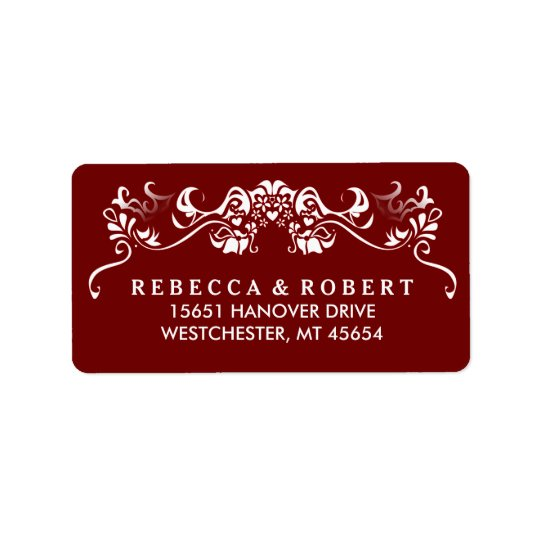 Maroon Red & White Fancy Wedding Address Label
