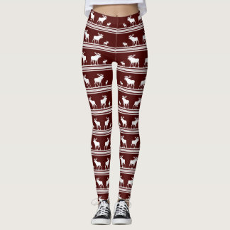 Maroon red white moose pattern leggings