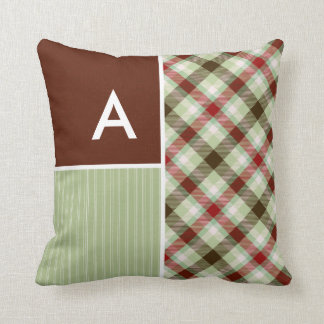 Maroon & Sage Green Plaid Throw Pillow