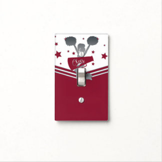 Maroon Silver Stars Cheer Cheer-leading Girls Light Switch Cover