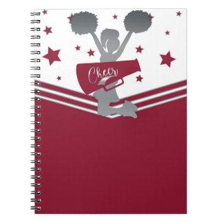 Maroon Silver Stars Cheer Cheer-leading Notebook