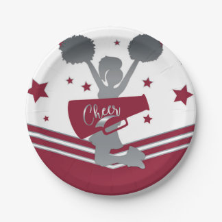 Maroon & Silver Stars Cheer Cheer-leading Party Paper Plate