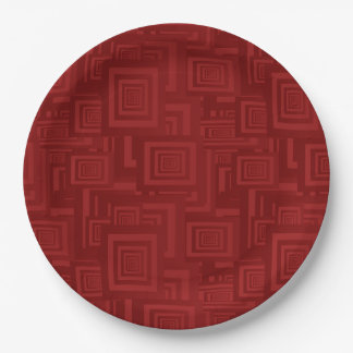 Maroon Squares Paper Plate