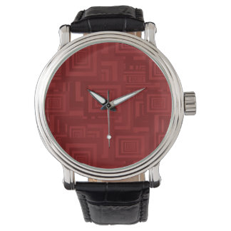 Maroon Squares Watch