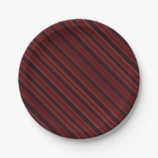 Maroon Stripe Paper Plate