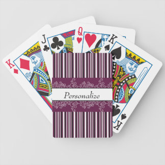 Maroon Stripes and Curls Bicycle Playing Cards