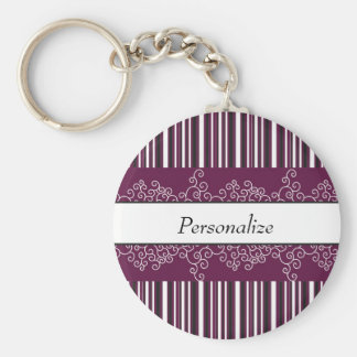 Maroon Stripes and Curls Keychain