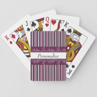 Maroon Stripes and Curls Playing Cards