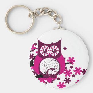 Maroon Swirly Owl Windy Tree Basic Round Button Keychain