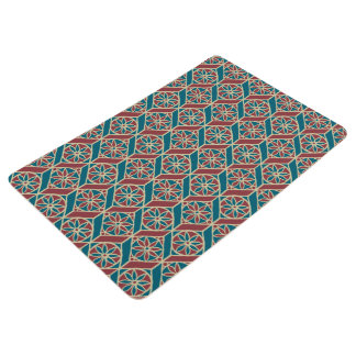 Maroon, Teal Ethnic Pattern, Flowers, Chevrons Floor Mat