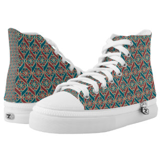 Maroon, Teal Ethnic Pattern, Flowers, Chevrons High Tops