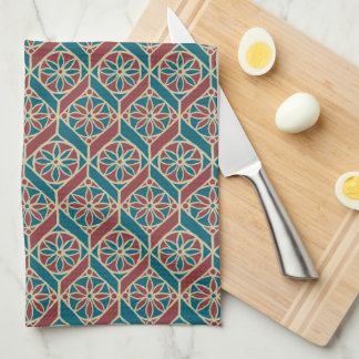 Maroon, Teal Ethnic Pattern, Flowers, Chevrons Kitchen Towel