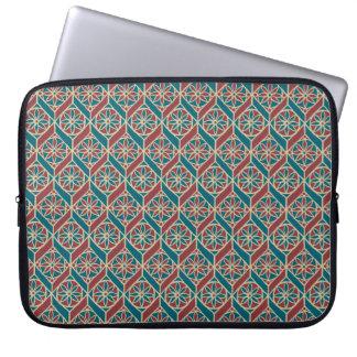 Maroon, Teal Ethnic Pattern, Flowers, Chevrons Laptop Sleeve