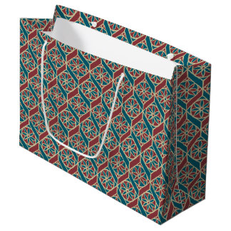Maroon, Teal Ethnic Pattern, Flowers, Chevrons Large Gift Bag