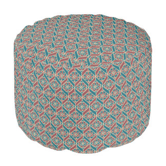 Maroon, Teal Ethnic Pattern, Flowers, Chevrons Pouf