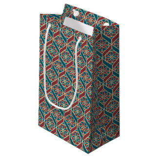 Maroon, Teal Ethnic Pattern, Flowers, Chevrons Small Gift Bag
