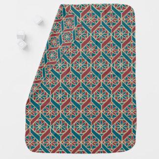 Maroon, Teal Ethnic Pattern, Flowers, Chevrons Stroller Blanket