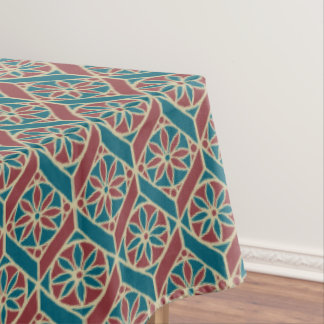 Maroon, Teal Ethnic Pattern, Flowers, Chevrons Tablecloth