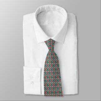 Maroon, Teal Ethnic Pattern, Flowers, Chevrons Tie