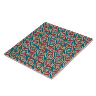 Maroon, Teal Ethnic Pattern, Flowers, Chevrons Tile