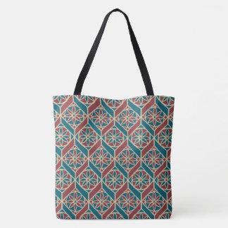 Maroon, Teal Ethnic Pattern, Flowers, Chevrons Tote Bag