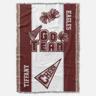 Maroon Team Spirit Cheerleader Custom Blanket