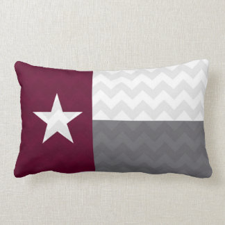 Maroon Texas Flag Chevron Lumbar Pillow
