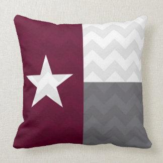 Maroon Texas Flag Chevron Throw Pillow