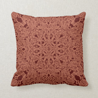 Maroon throw pillow. Floral psychedelic design Throw Pillow
