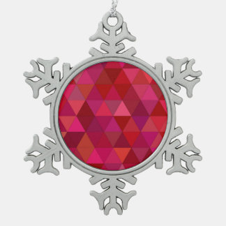 Maroon Triangles Snowflake Pewter Christmas Ornament