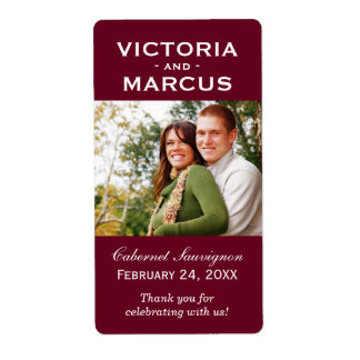 Maroon Wedding Photo Wine Bottle Favor Labels